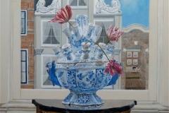 Stilleven blauwe vaas